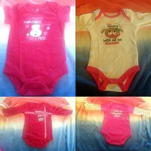 Unbranded One Pieces - NWT Lot 4 Christmas-Themed One-Piece Baby Sz 0-3